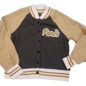 Justice Cotton bomber jacket, gold glitter patch